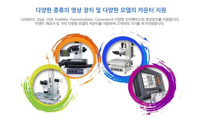다양한 종류의 영상 장치 및 다양한 모델의 카운터 지원 1394, gige, usb, firewire, 프레임그래버, cameralink 다양한 인터페이스의 영상장치를 지원합니다. 브랜드 제조사 및 기타 다양한 모델의 카운터를 지원하며 고객사의 기기를 추가지원합니다.
